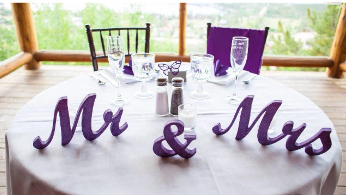 Mr. & Mrs. Wedding Signs. Mr And Mrs Purple. Mr And Mrs
