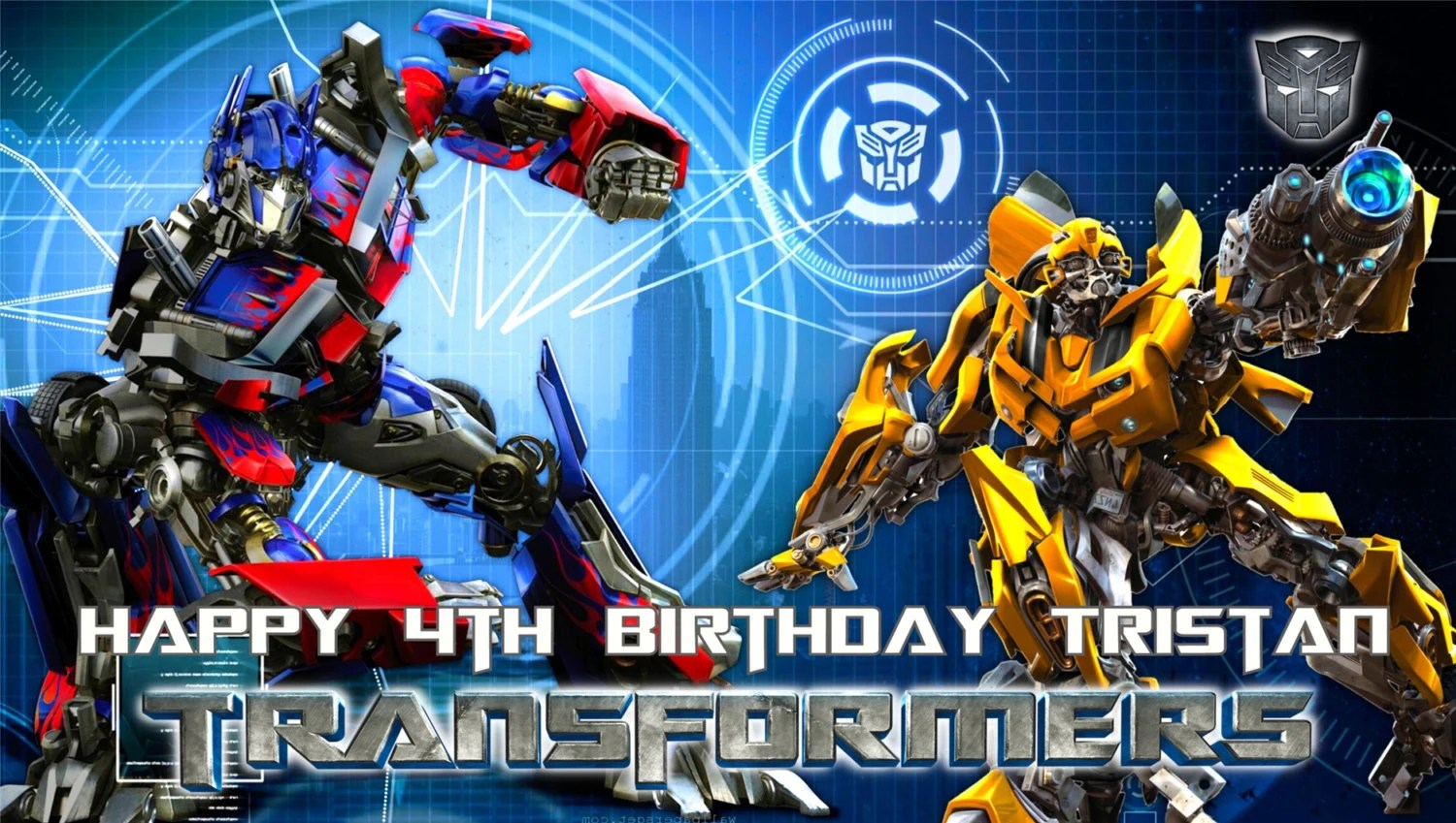 Transformers Optimus Prime Bumble Bee Happy Birthday