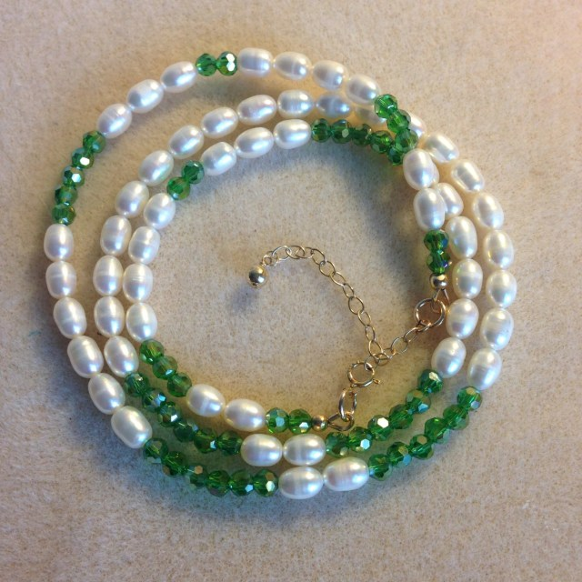Pearl and crystal wrap br...