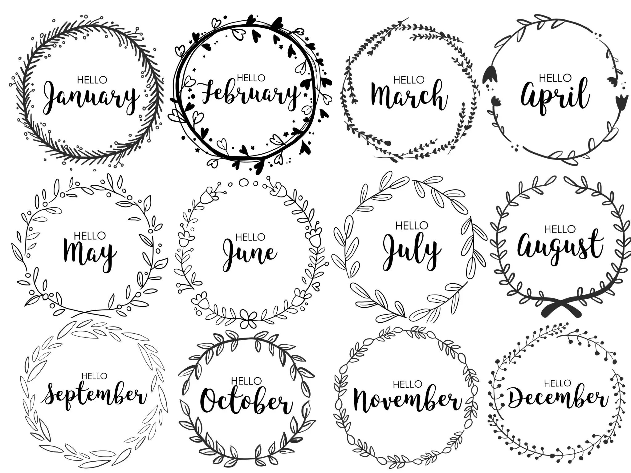 JOURNAL MONTHLY COVERS wreath monthly bullet journal