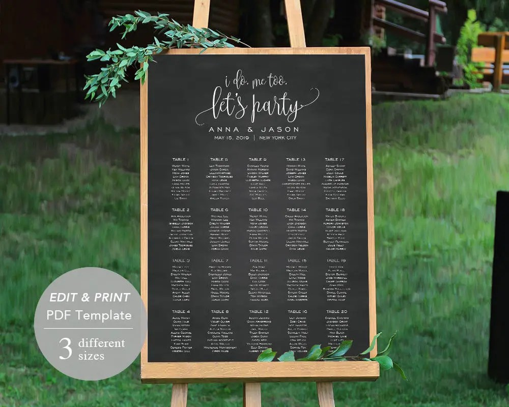 Wedding seating chart template printable board file editable pdf instant download chalkboard spp cse also rh etsy