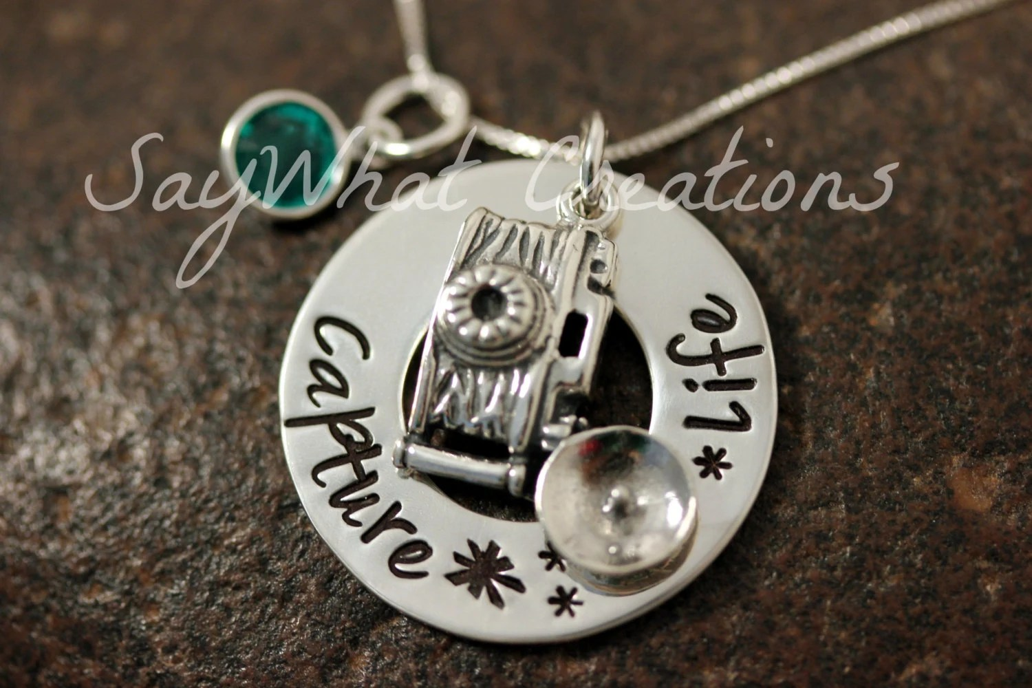 Custom Hand Stamped Sterling Silver Camera Charm