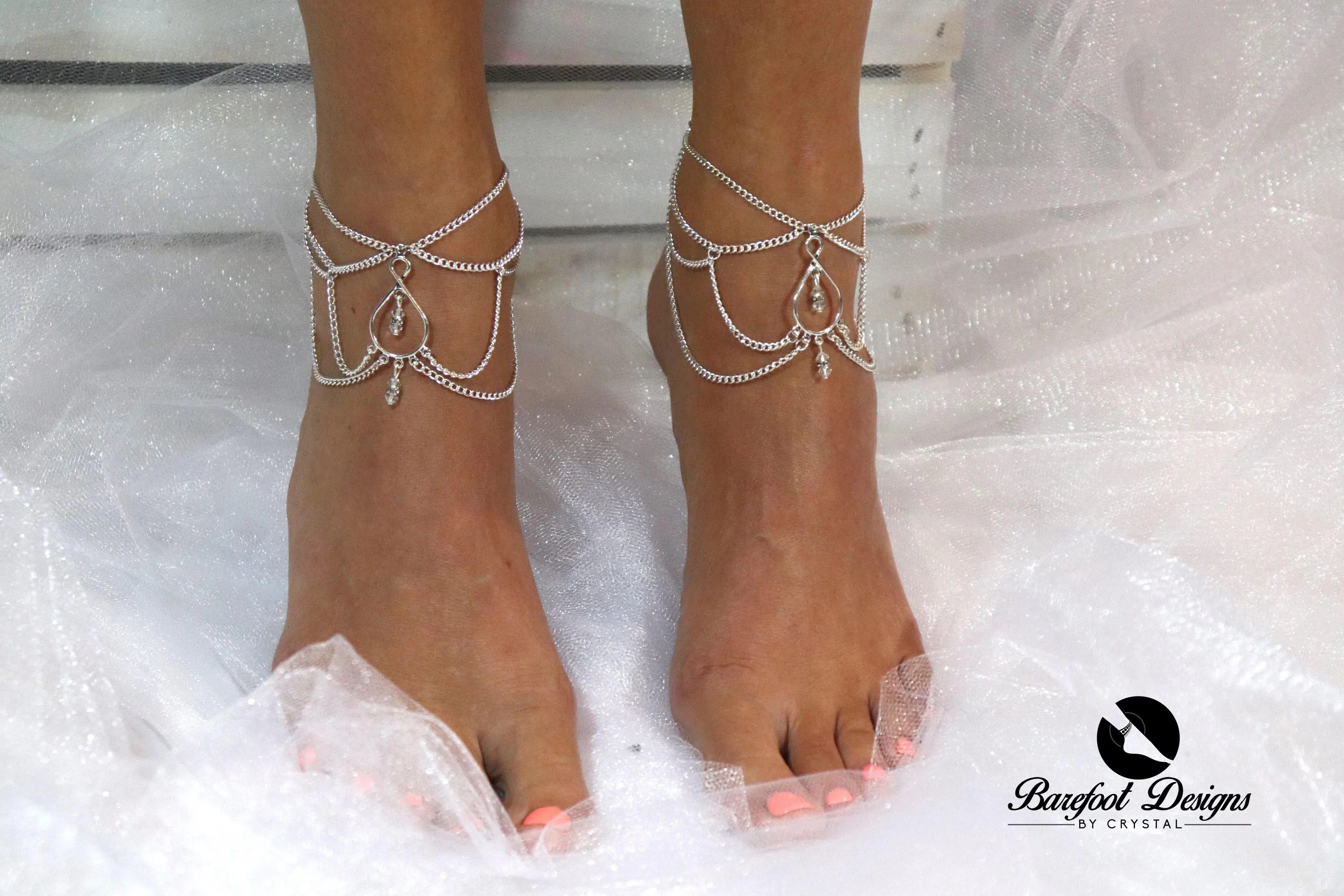 Silver Boho Crystal Diamond Chain Drop Ankle Barefoot Sandal