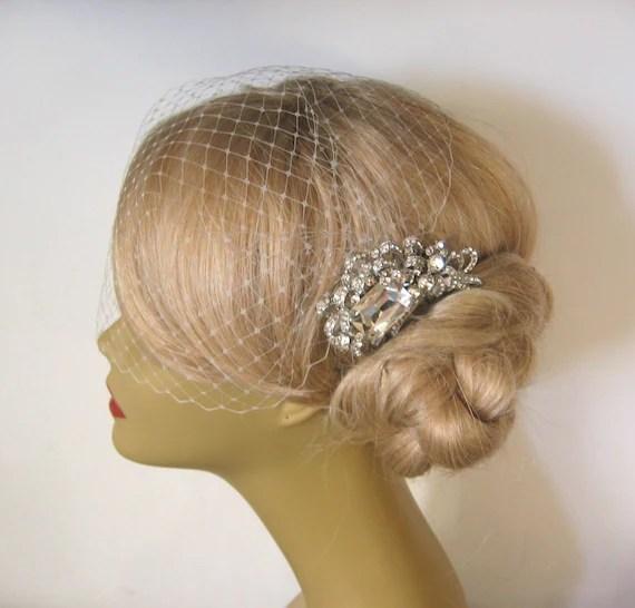 Birdcage Veil And A Hair Comb 2 Items Decorative Comb