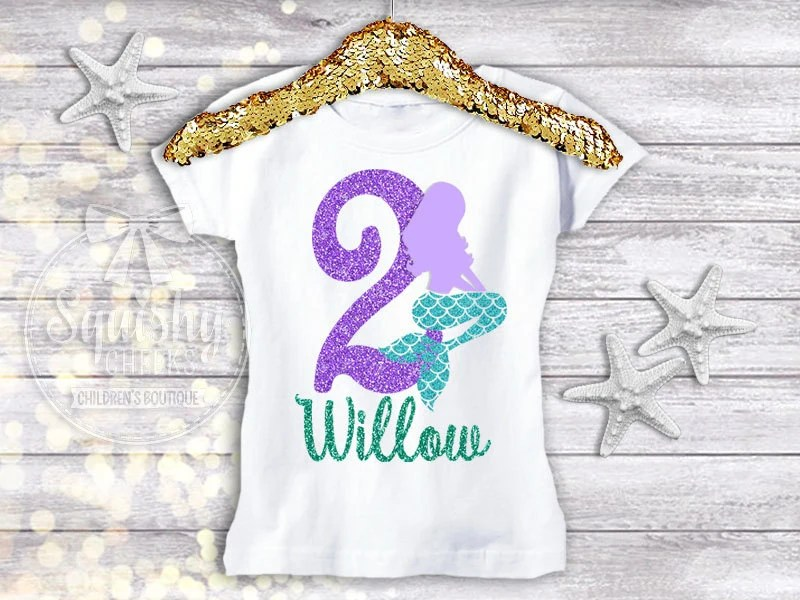 Little Mermaid Birthday Shirt Personalized