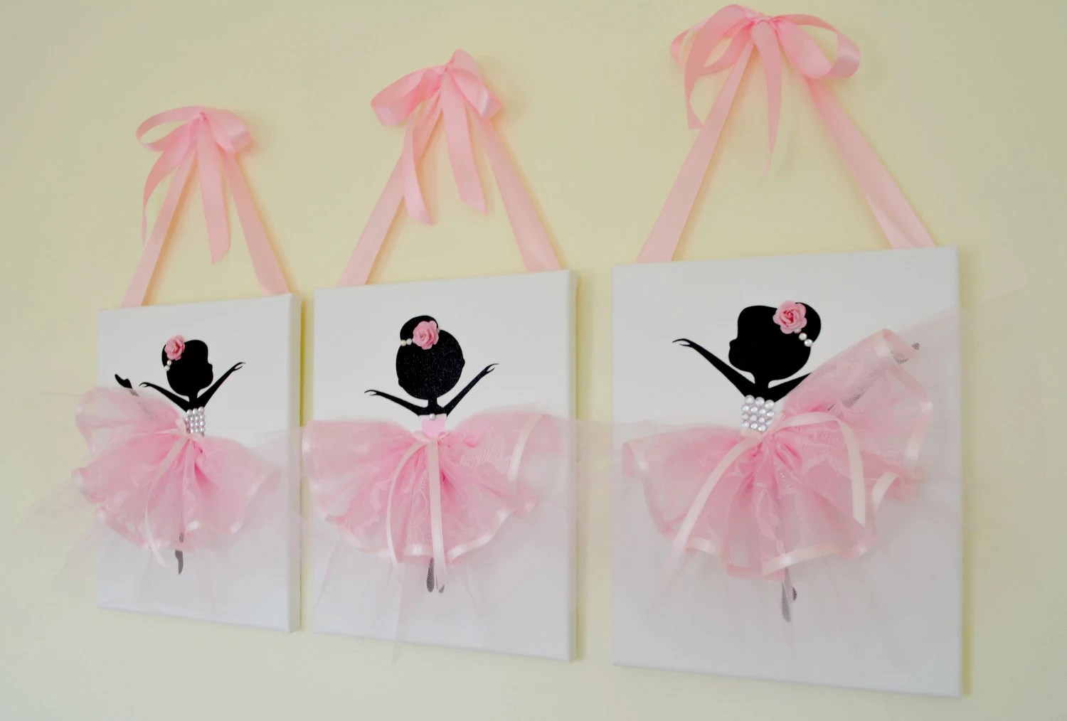 Ballerina Nursery Wall Art In Pink And White Girls Room