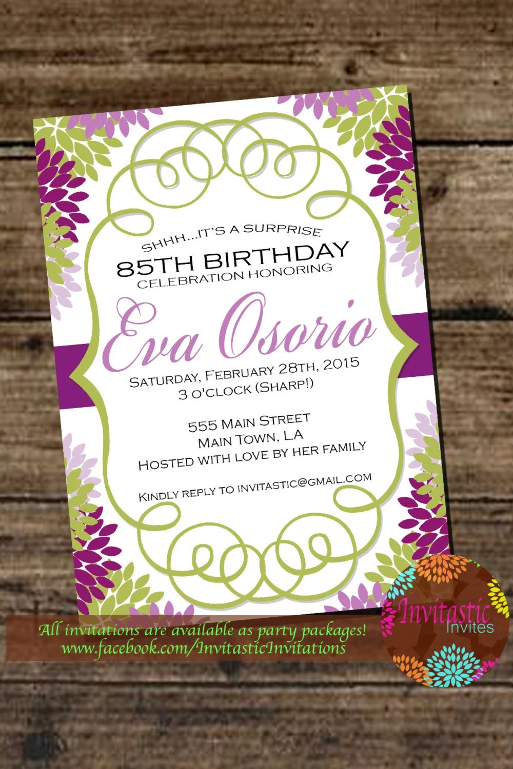 85th Birthday Floral Milestone Invitation 30th