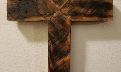 Wooden Cross With Banner Art Wooden Thing