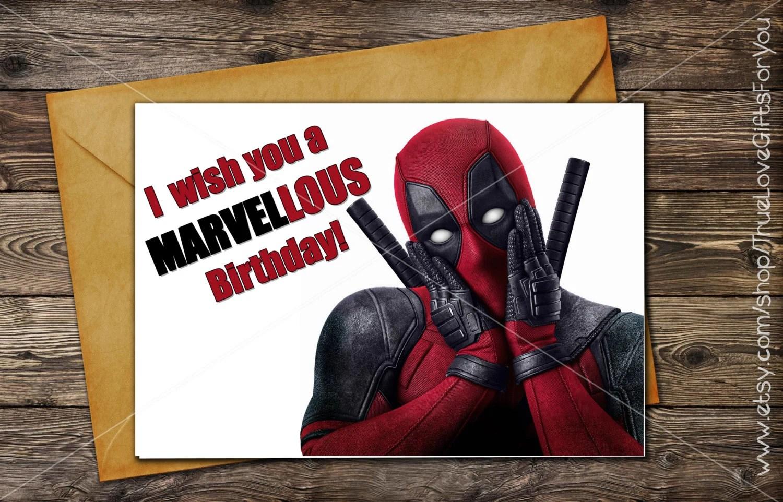 Deadpool Birthday Card Printable Greeting Card Instant