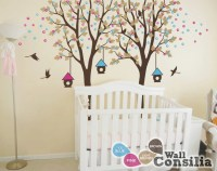 Baby Nursery Wall Decals Birdhouse Tree Wall Decal Two