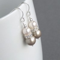 Champagne Pearl and Crystal Earrings Taupe Pearl Drop