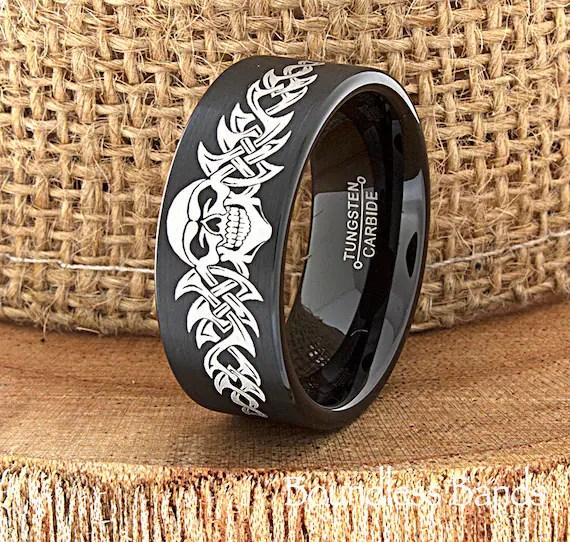 Skull Wedding Band Skull Ring Biker Wedding Band Mens Tungsten