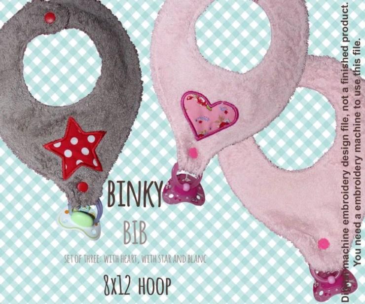 BINKY BIB - 8x12 hoop  - set - In The Hoop - Machine Embroidery Design File, digital download