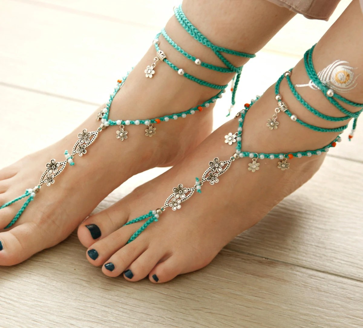 Turquoise Barefoot Sandals. Tibetan Silver Anklet