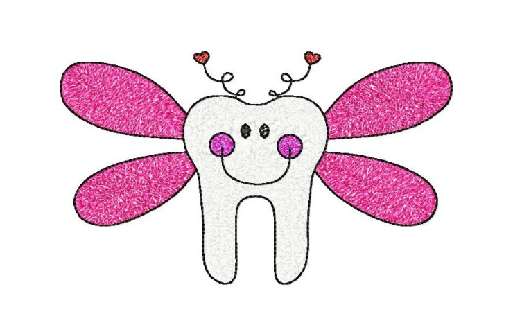 5x7 hoop TOOTH FAIRY Machine Embroidery Design File, digital download