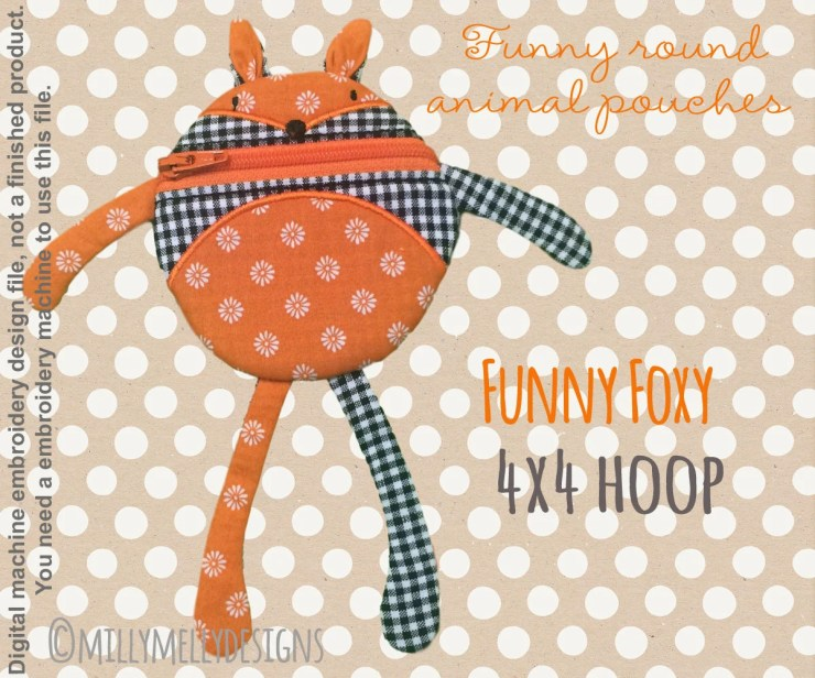 Funny pouch animal - FOX - 4x4 hoop - ITH - In The Hoop - Machine Embroidery Design File, digital download