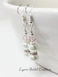 Pale Pink Crystal Earrings Wedding Earrings Bridesmaid
