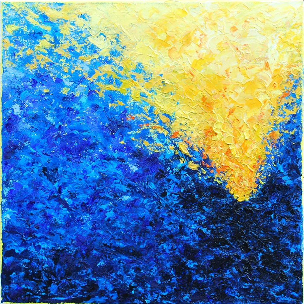 Blue Yellow and Orange Abstract Oil Painting