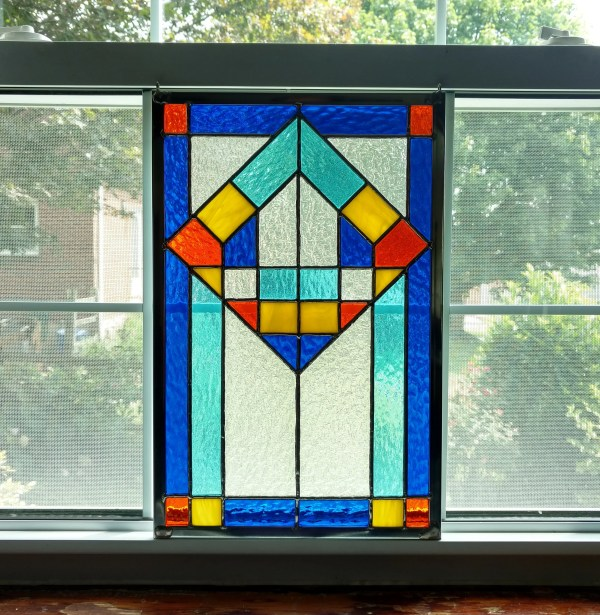 Geometric Stained Glass Panel Window Modern