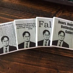Create Your Own Living Room Set High Ceiling Decor Ideas The Office Coasters Dwight Schrute Of 4 Comedy