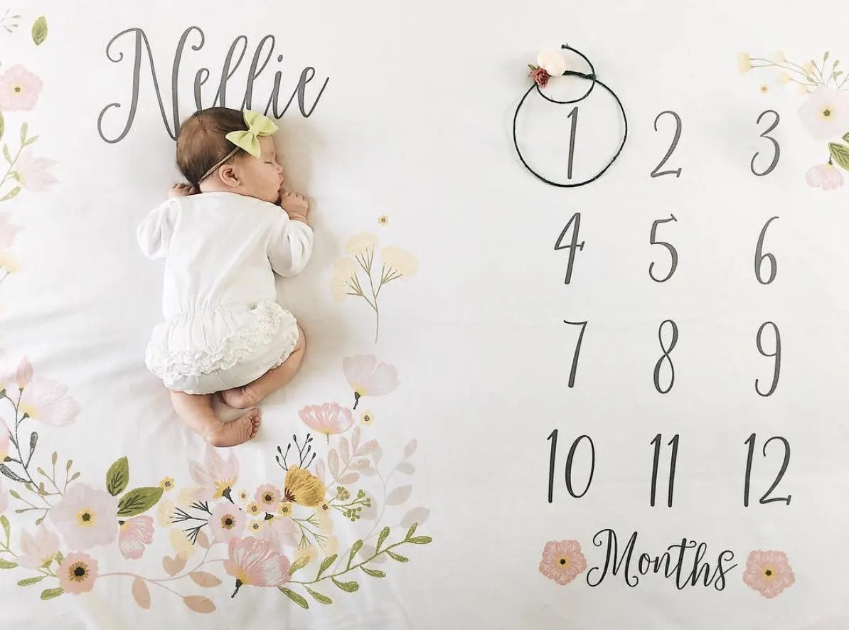 Personalized Baby Milestone Blanket by PipsyShop for Baby Girl Shower Gift Ideas