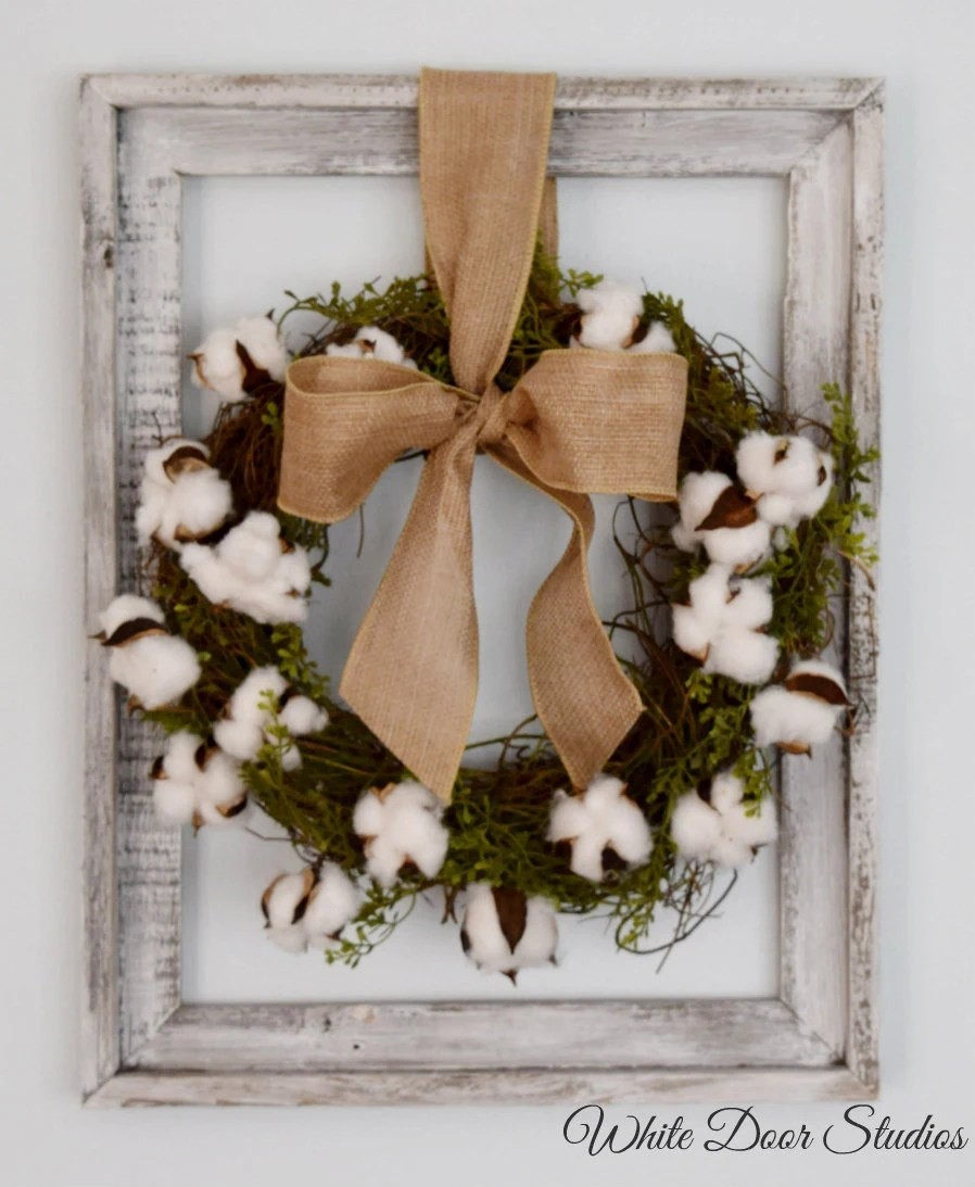 Rustic Cotton Wreath In Barnwood Frame Wall Decor
