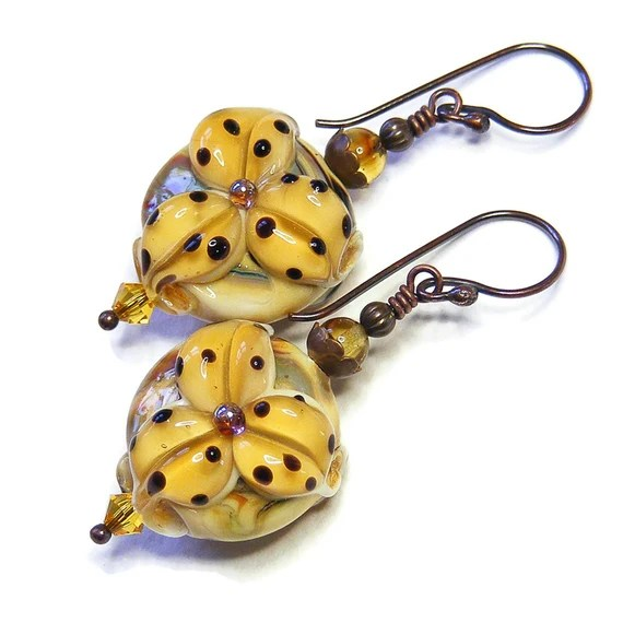 Pale Topaz Tiger Lily Earrings