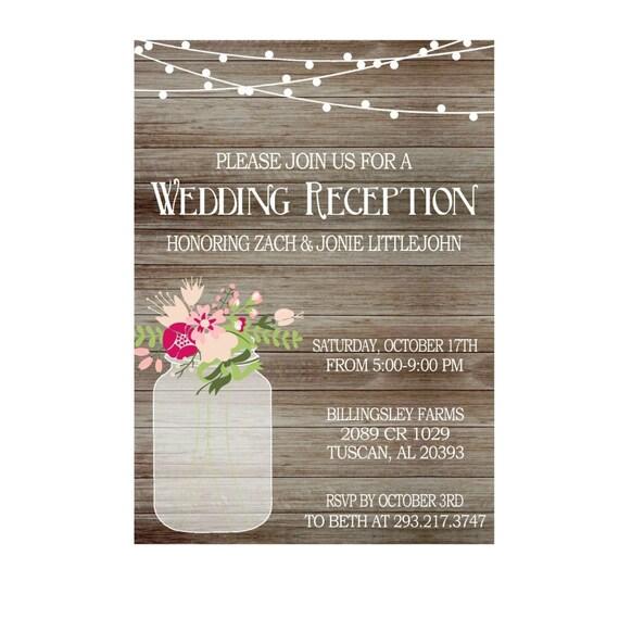 Rustic Wedding Reception Invitation with Lights Mason Jar