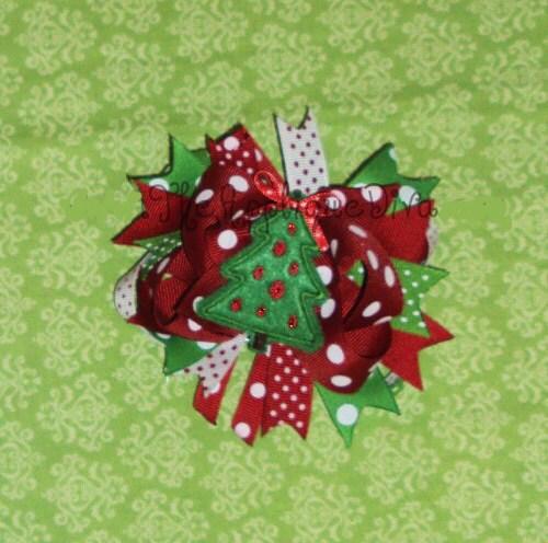 christmas tree hair bow center