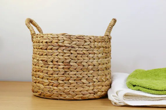 Rustic Braided Straw Basket