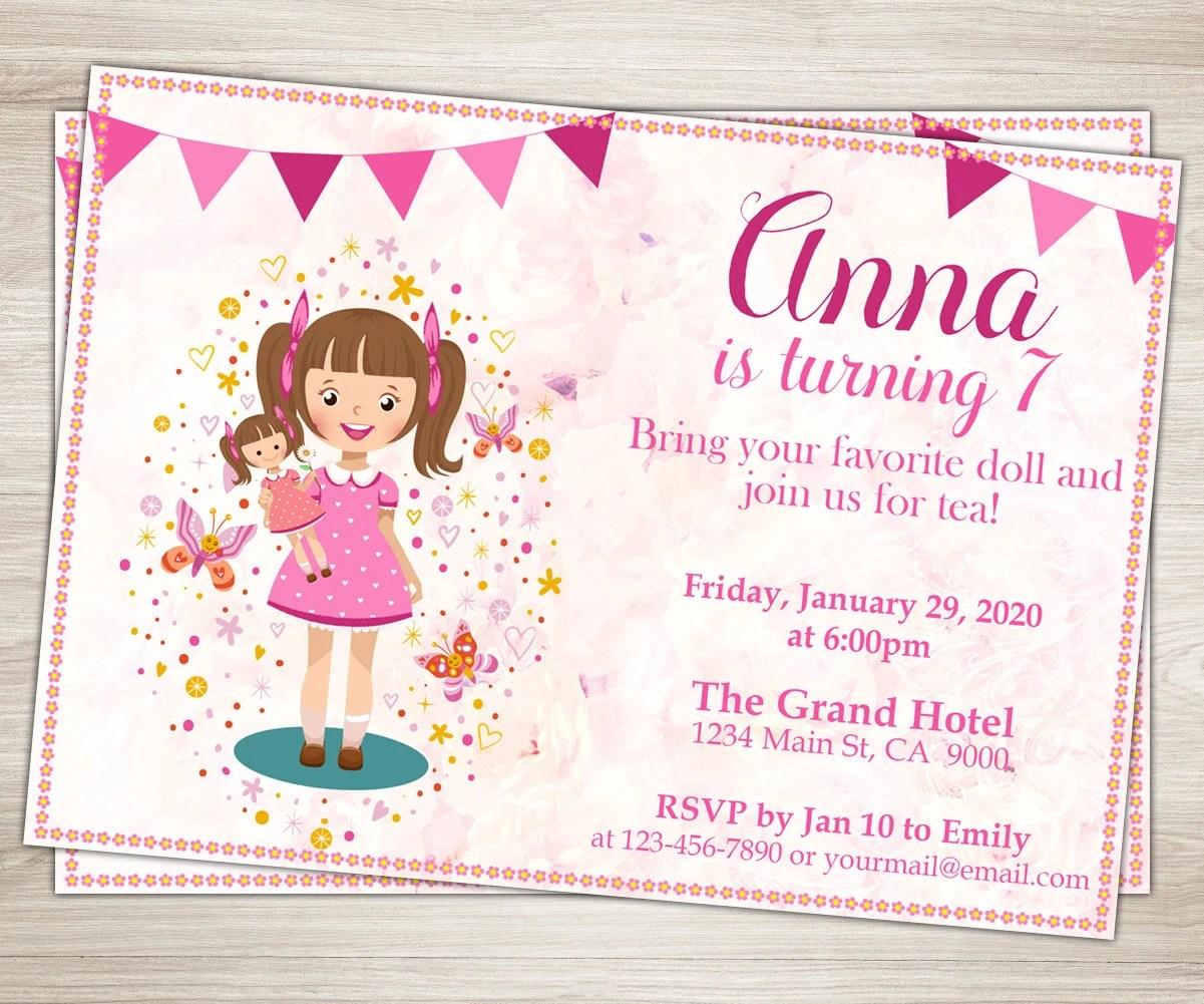 Baby Doll Party Invitation Doll Girl 7th Birthday Invitation