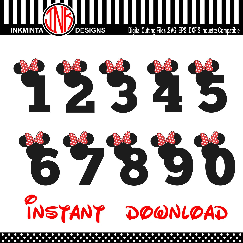 Minnie Number Svg Font Walt Disney Numbers Font Alphabet