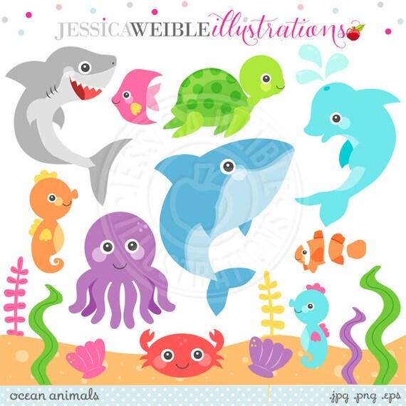 ocean animals cute clipart