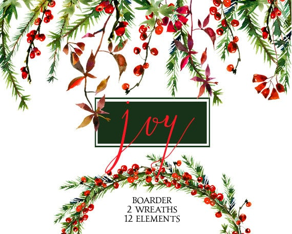 christmas watercolor clipart wreaths