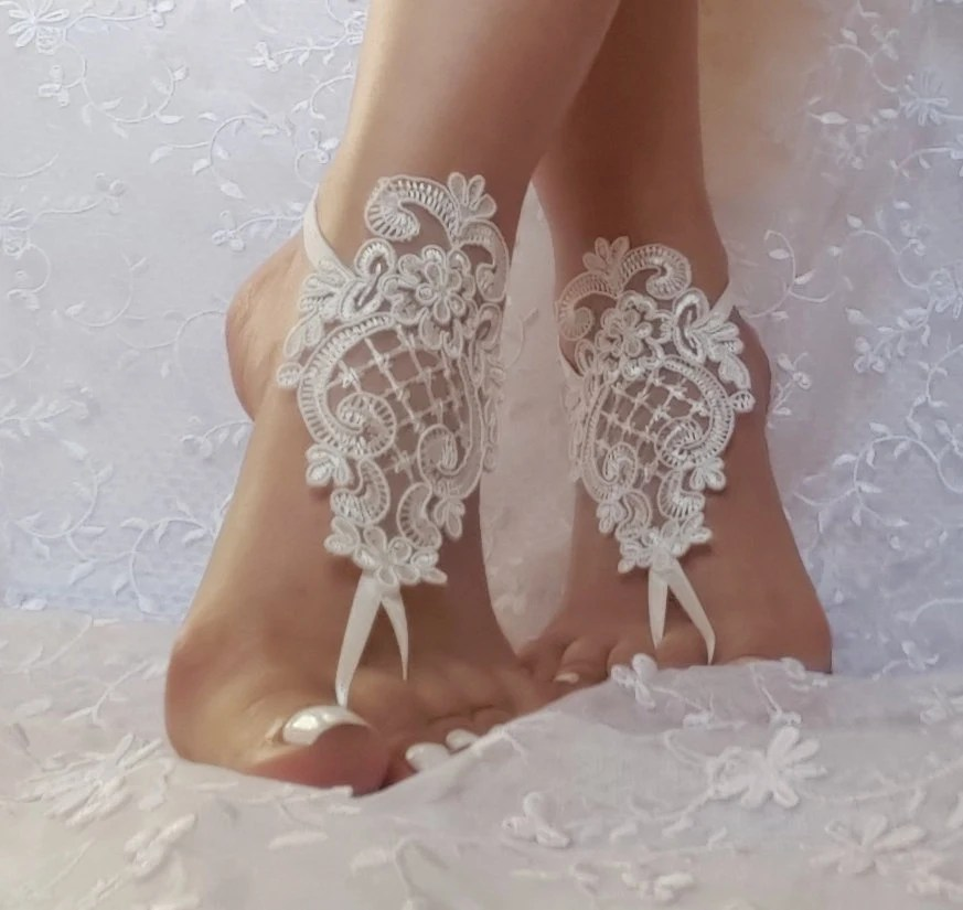 Free Ship Ivory Wedding Shoe Barefoot Sandles Prom