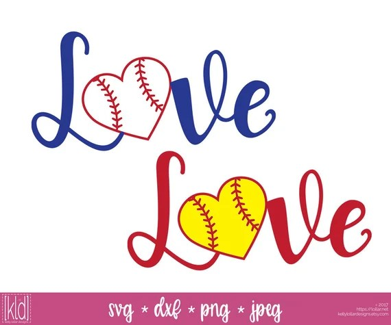 Download 2 Baseball Heart svg Softball Heart svg Love Baseball svg