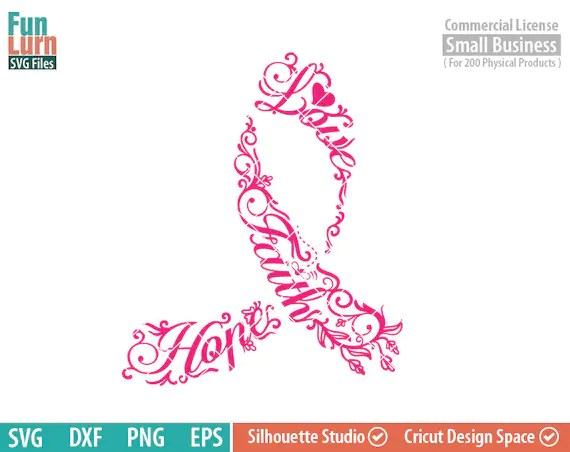 Download Breast Cancer Awareness SVG Faith Love Hope flowers