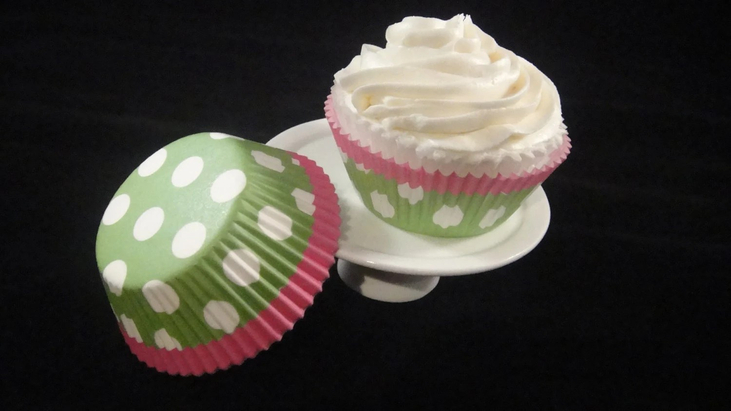 Hot Pink And Bright Green With Polka Dots Cupcake Liners
