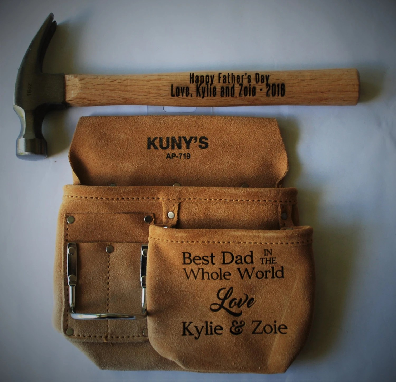 Father S Day Gift Custom Engraved Tool Pouch And Hammer