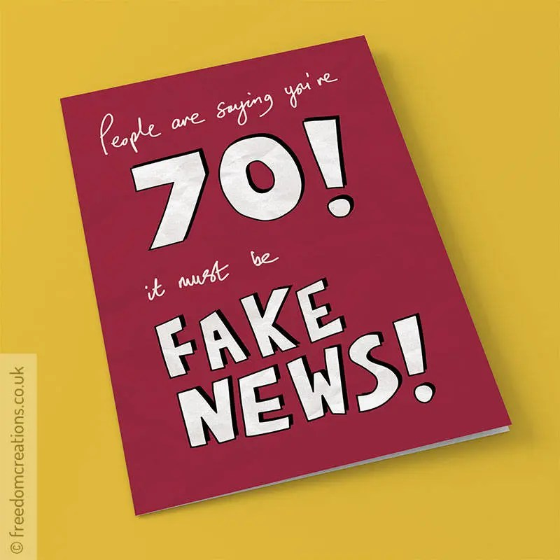 Fake 70th Birthday Card Funny Political Greeting Cards