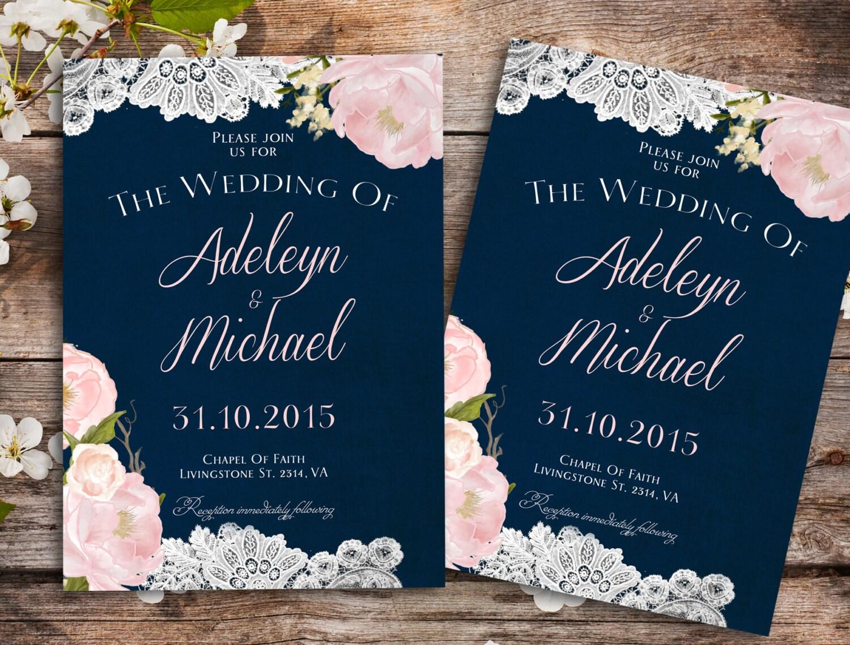 Navy blue Wedding Invitation Rustic wedding Invitation Barn