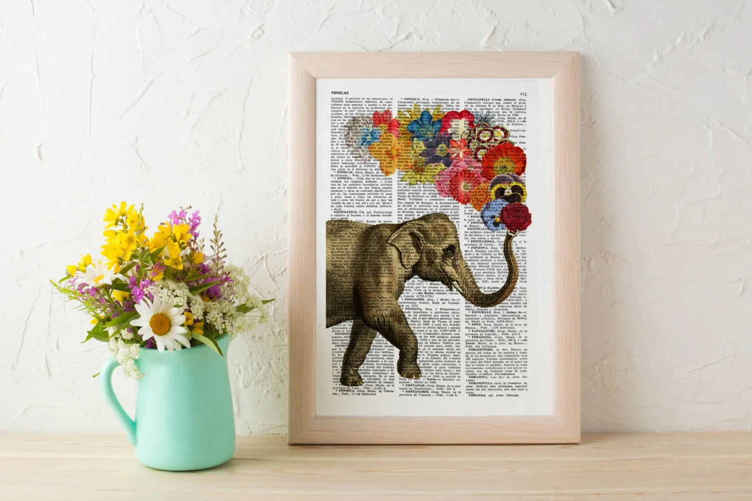 Elephant With Flowers Gift For Her Wall Art Decor Unique Love