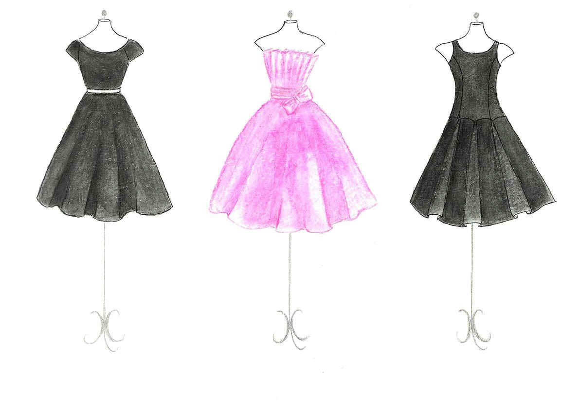 Watercolor Black And Pink Dresses Fashion Illustration Teen