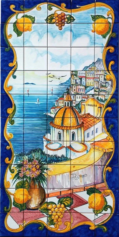 tile top kitchen table freestanding hand painted italian ceramic tiles positano room decor