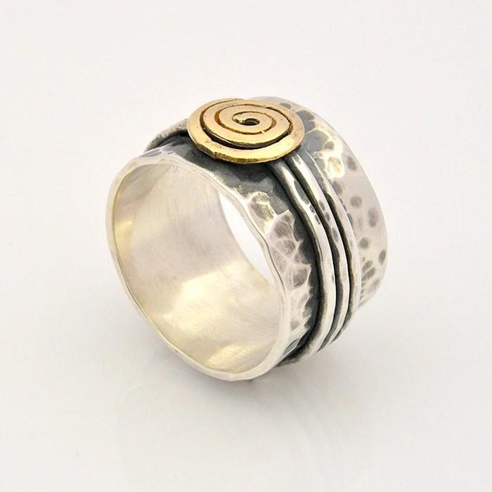 Spirale Goldring Hand geschlagenRing Silber und Gold Ring
