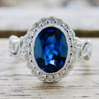 Royal Deep Blue Sapphire Engagement Ring in 18K White Gold
