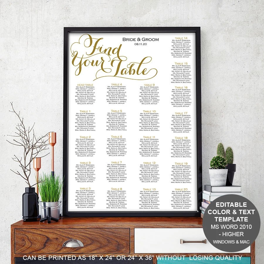 also modern rustic wedding table seating chart template rh etsy