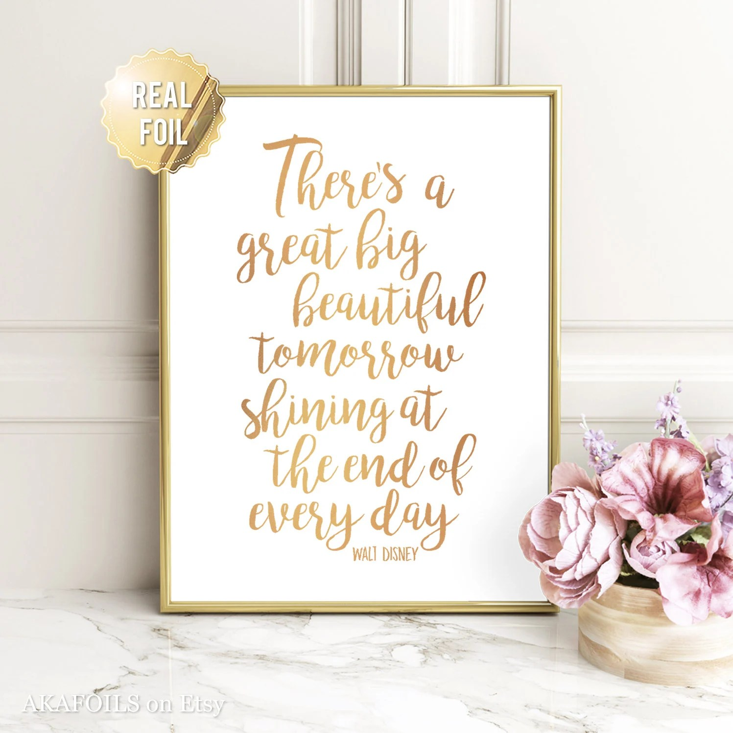 Disney Quote Wall Art Walt Disney Quote Prints Gold Foil