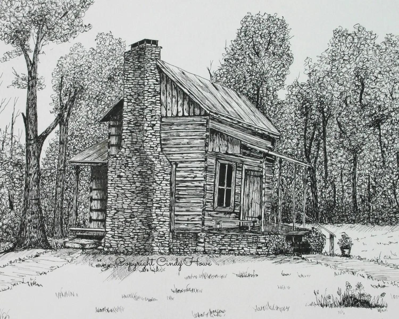 Mountain Log Cabin Drawing