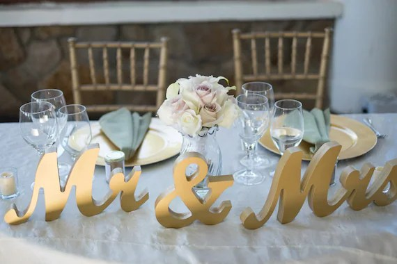 Gold Metallic Mr And Mrs Sign Wedding Sweetheart Table Decor